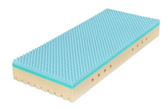 Středně tuhá až tužší, antibakteriální pružná matrace s hybridní a studenou pěnou. Hybridní pěna spojuje ty nejlepší vlastnosti studené i paměťové pěny a latexu: je pružná, prodyšná, má optimální tuhost,