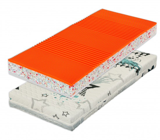 Oboustranná matrace se sendvičovou konstrukcí a centrální výztuhou z RE pěny vysoké objemové hmotnosti.
